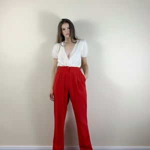 Vintage red wool high waisted pleated pants